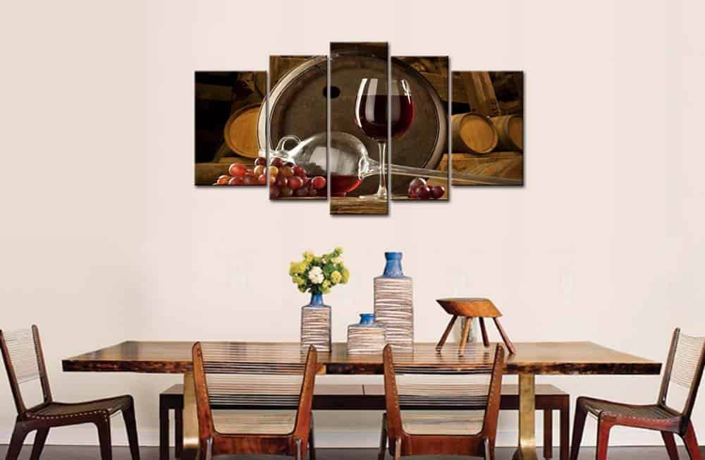 5 Panel Wall Art Painting Red Grapes Wine Barrel And Grapes
