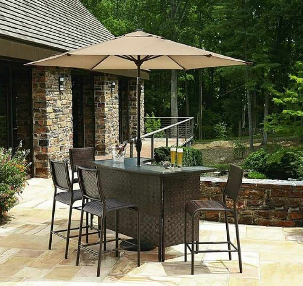 6 pc Outdoor Wicker Bars Set W Umbrella