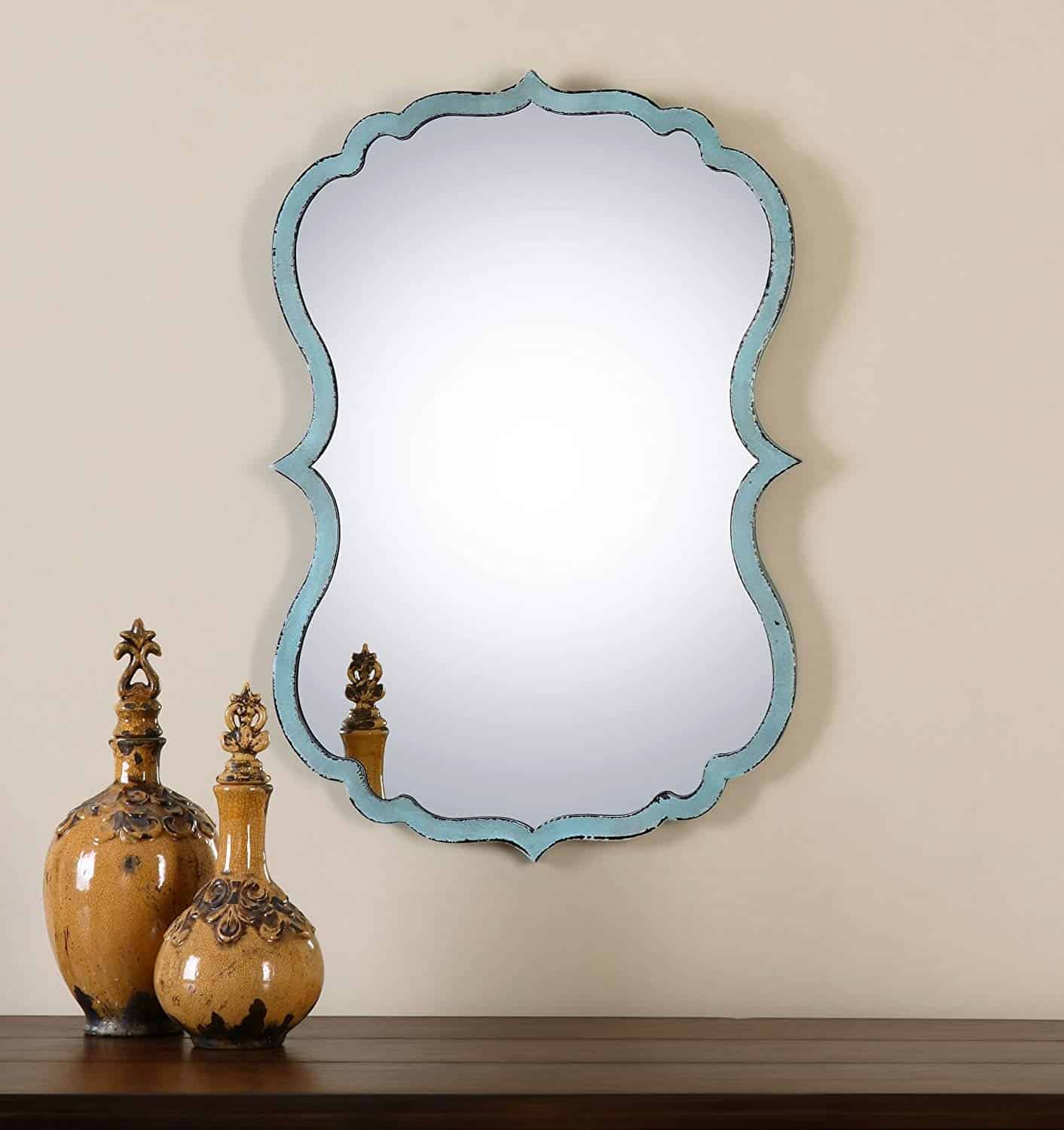 Unusual Curved Shaped Light Blue Wall Bathroom Vanity Mirror