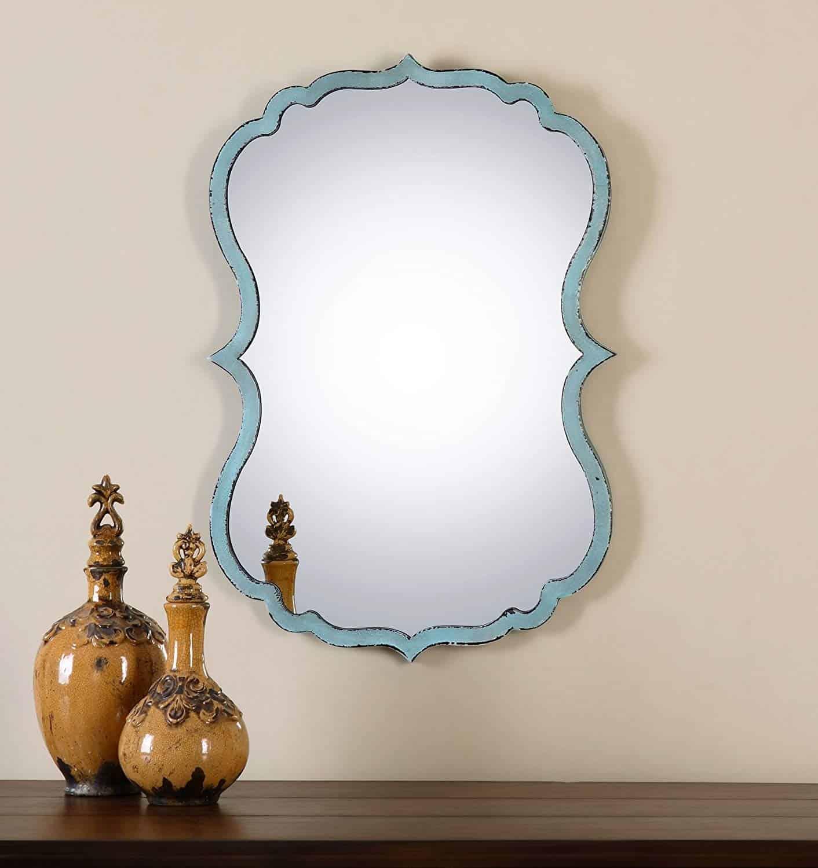 Unusual Curved Shaped Light Blue Wall Bathroom Vanity Mirror