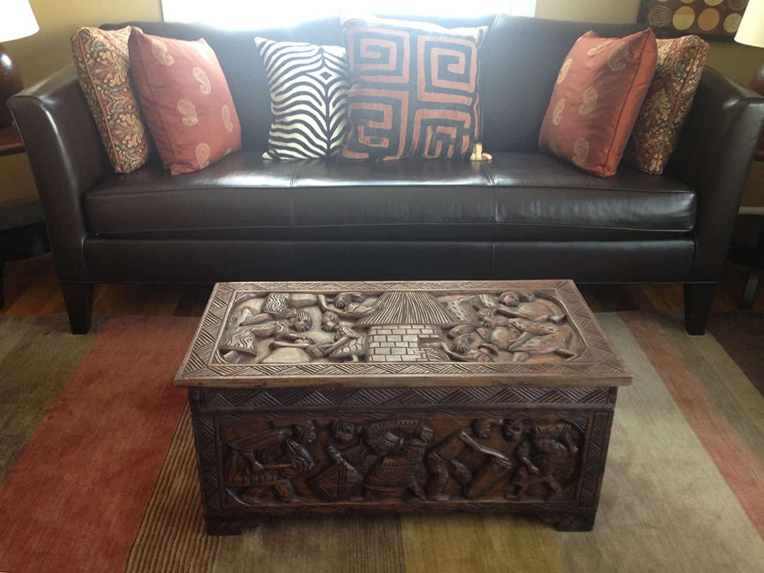 African Carved Wooden Handmade Trunk Chest Center Table