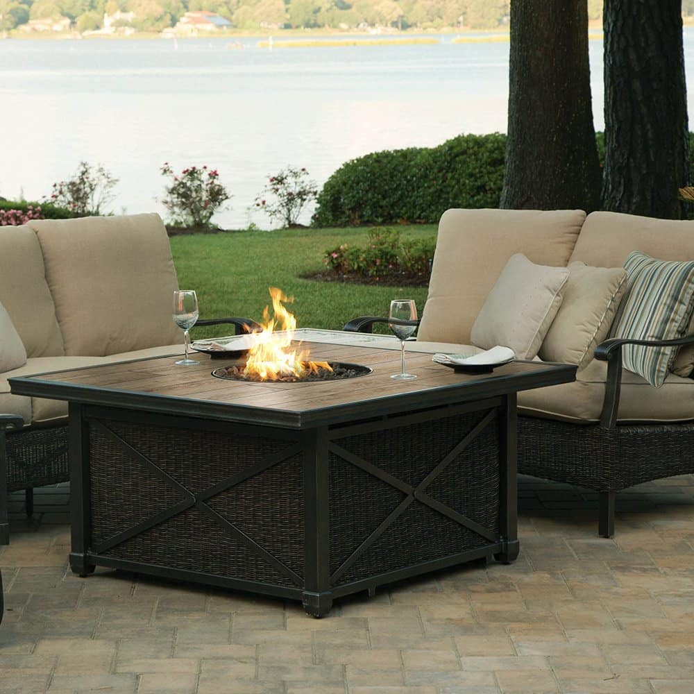 Agio Franklin Gas Fire Pit with Copper Reflective Fire Glass