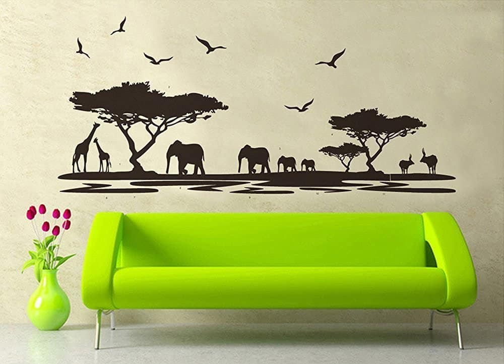 Amaonm® Removable Diy Vinyl Hot Fashion Huge Black Tree Elephant Giraffe Twilight Scene