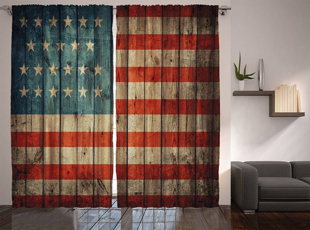 American Usa Flag Curtains By Ambesonne