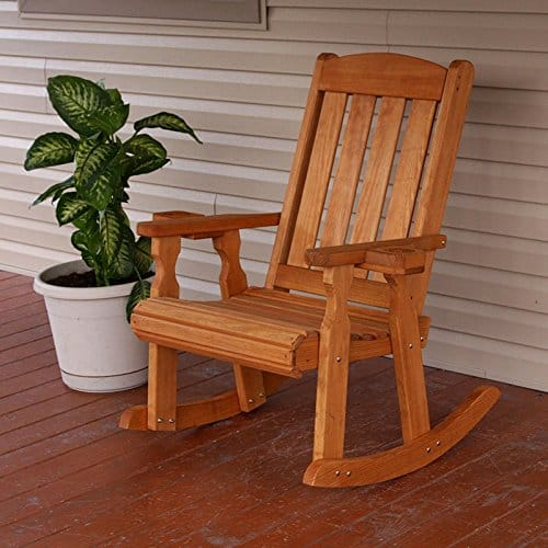 Amish Heavy Duty 600 Lb Mission Pressure Treated Rocking Chair With Cupholders (Cedar Stain)