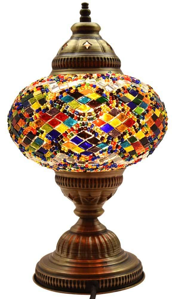 BOSPHORUS Stunning Handmade Turkish Moroccan Mosaic Glass Table Desk Bedside Lamp Light with Bronze Base
