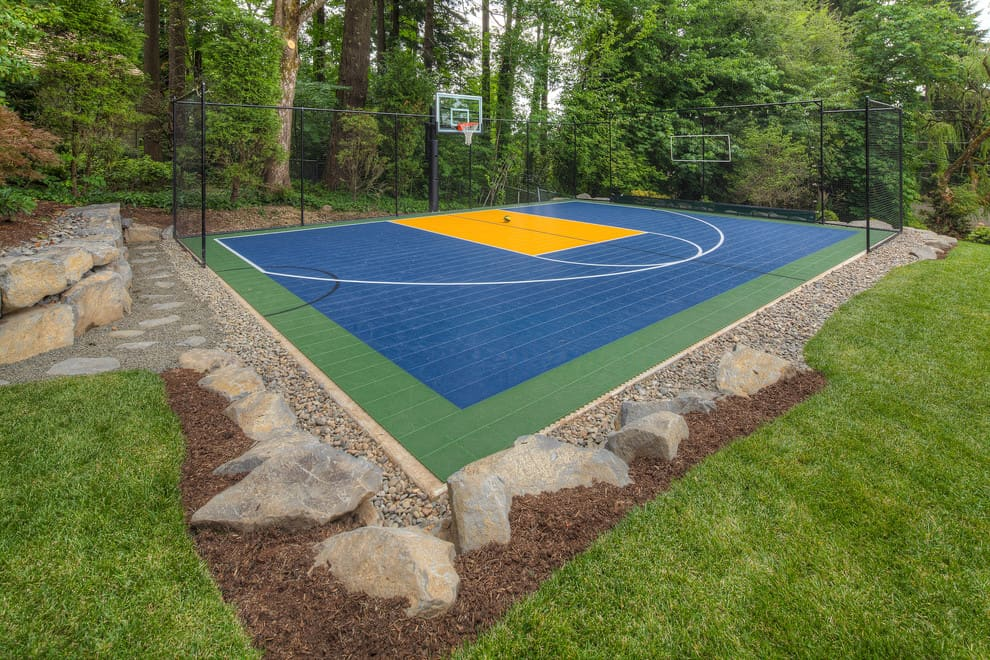 Backyard Basketball Court Ideas Stencils Layouts Dimensions - Backyard basketball court ideas