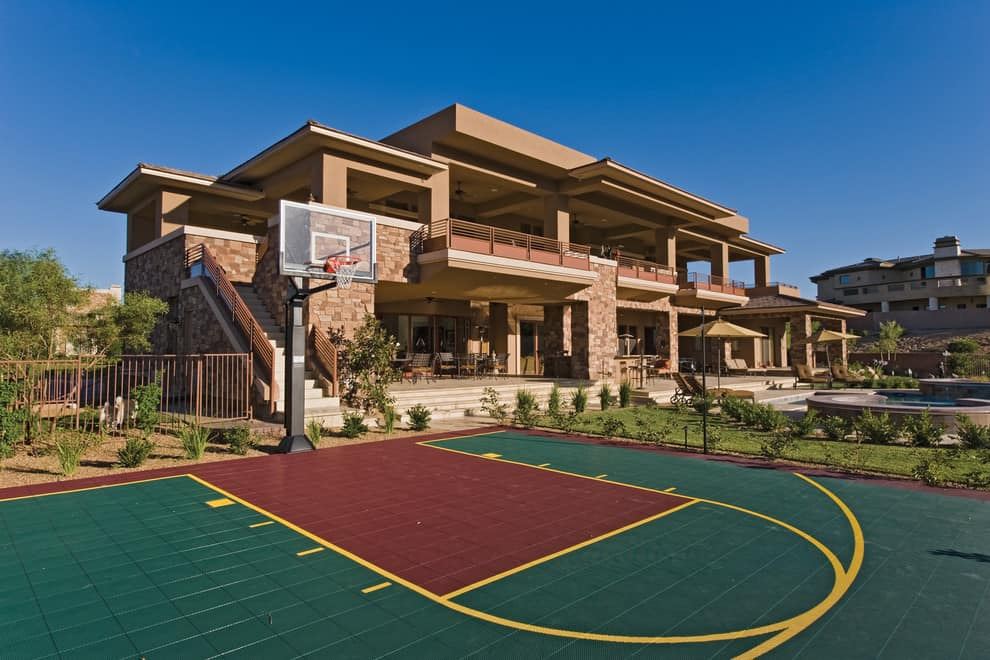 backyard basketball court ideas stencils layouts dimensions. Black Bedroom Furniture Sets. Home Design Ideas