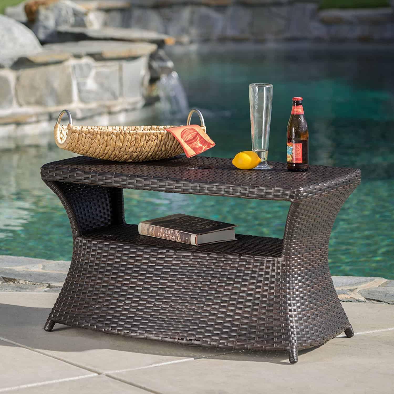 Banta Outdoor Wicker Side Table
