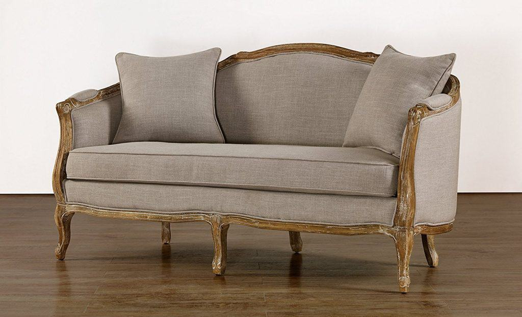 Baxton Studio Corneille French Country Weathered Oak Linen Upholstered 2-Seater Sofa, Beige