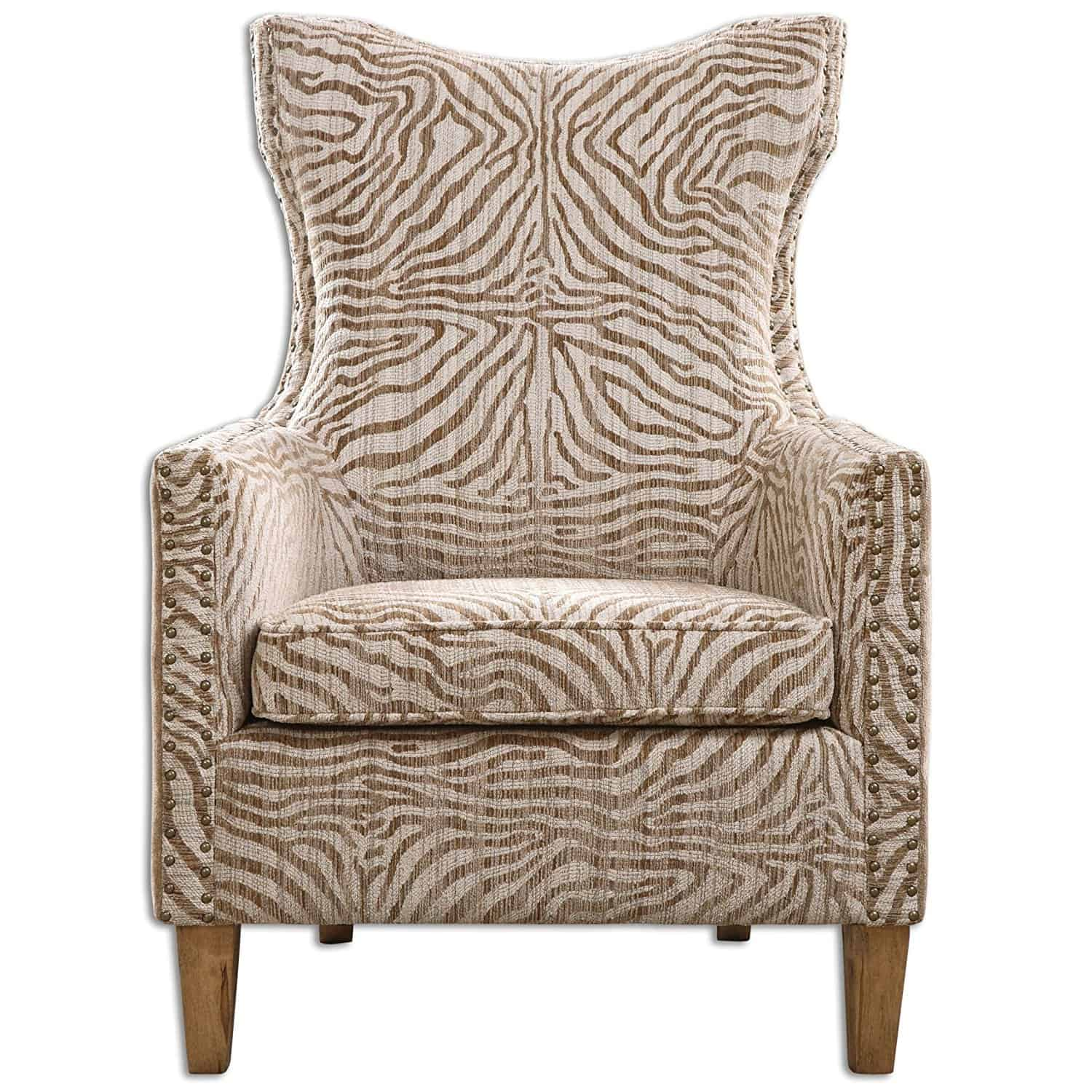 Beige Jungle Print Zebra Arm Chair