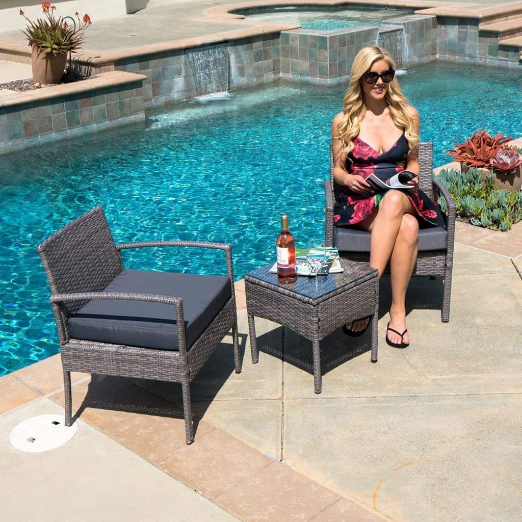 Belleze 3-PCS Patio Outdoor Rattan Furniture Set