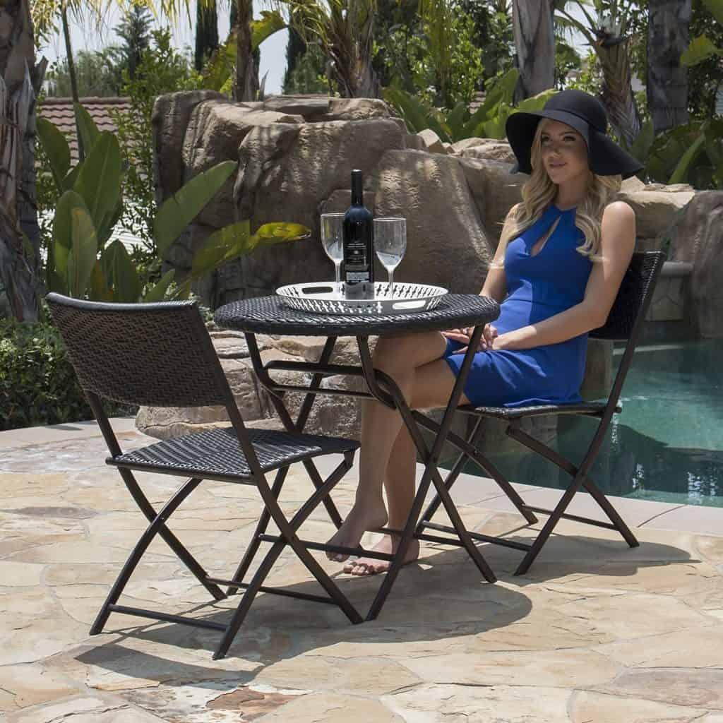 Belleze Folding Table & Chair Bistro Set