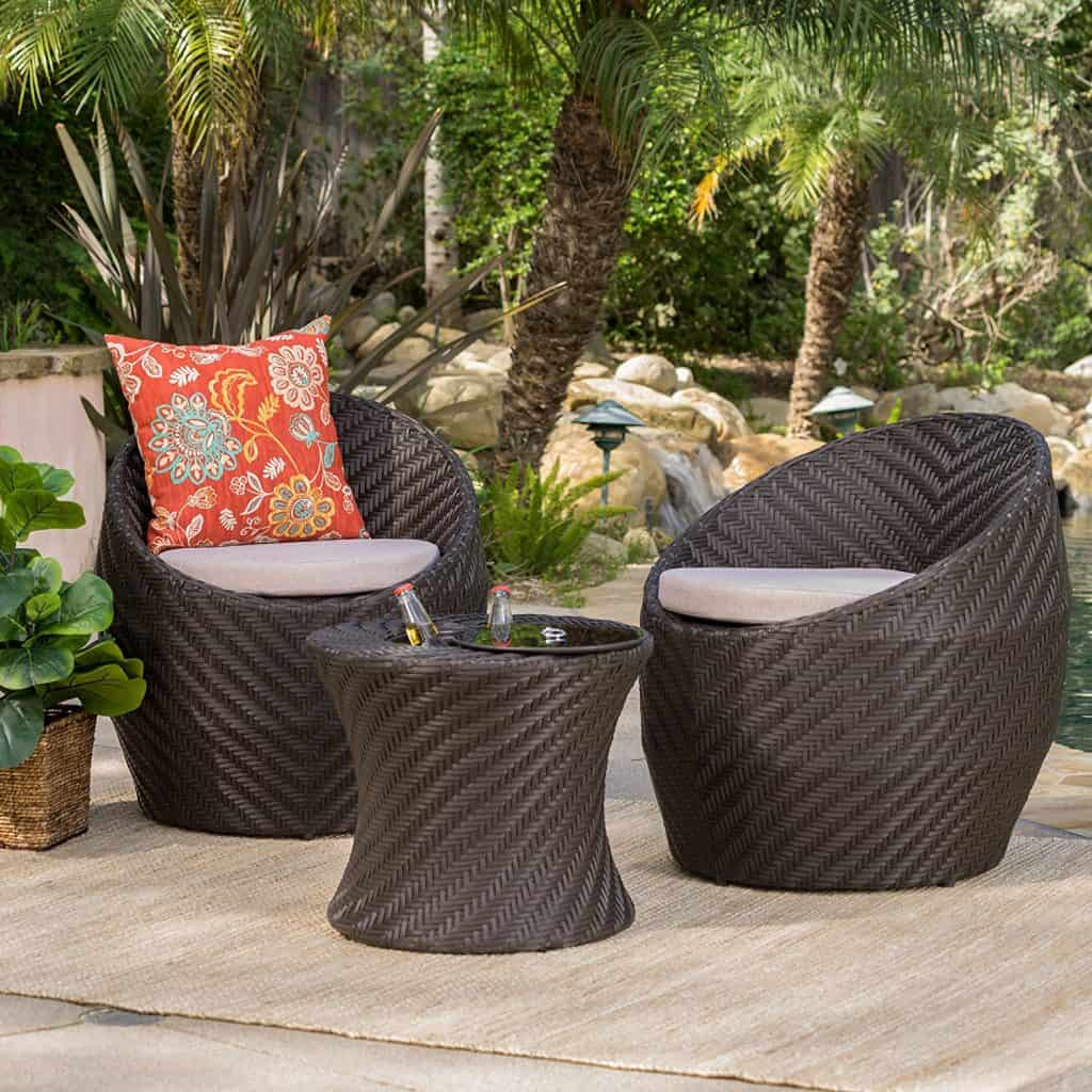 Berkshire Outdoor 3 Pc Wicker Chat Set wWater Resistant Cushions