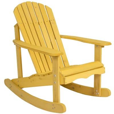 Best Choice Products Outdoor Adirondack Rocking Chair Natural Fir Wood Deck Garden Furniture