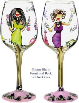 Bottom's Up 15-Ounce I'll Drink to That Handpainted Wine Glass