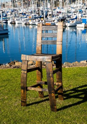 Bourbon Barrel Bar Stool With Backrest