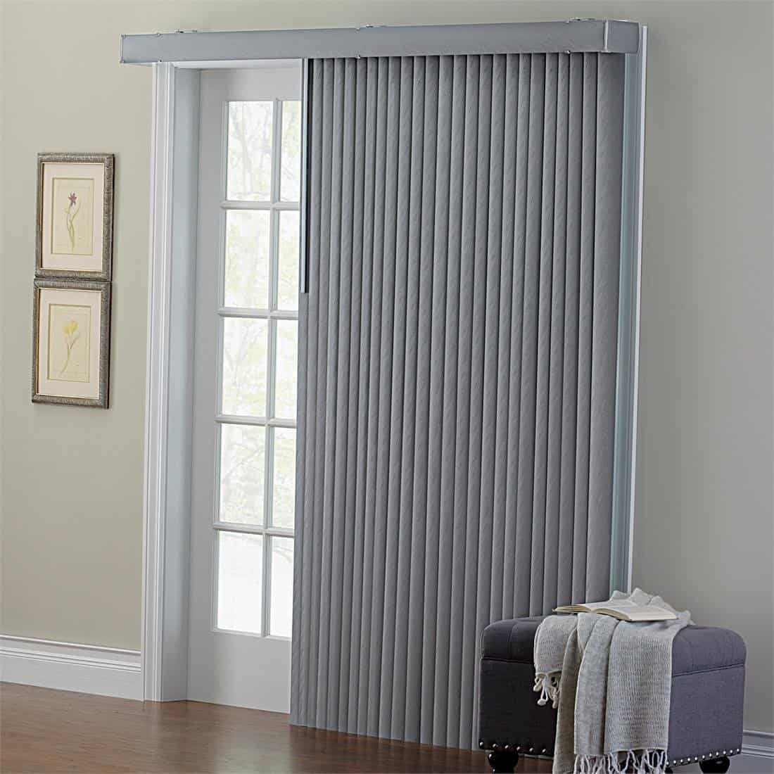 Brylanehome Embossed Vertical Blinds Grey 104w 84 L