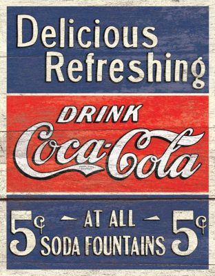 COKE - Delicious 5 Cents Metal Tin Sign