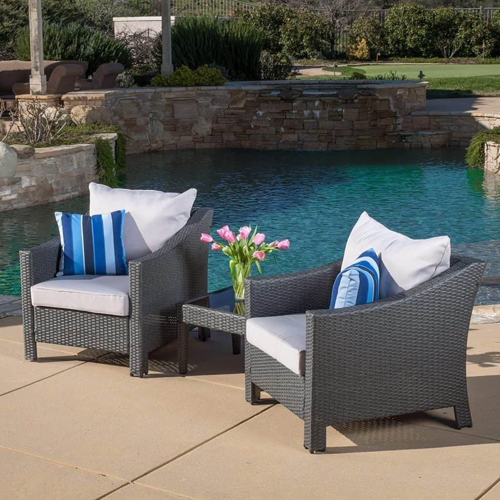 Caspian 3 Piece Grey Outdoor Wicker Furniture Chair Set