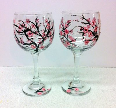 Cherry Blossoms Hand Painted Wine Glasses