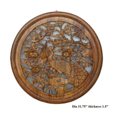 Chinese Wood Carved Round Peacock Wall Decor Ass446
