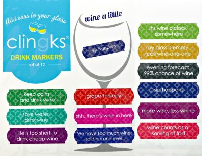 Clingks 12 Drink Markers - WINE A LITTLE - Fun Alternative to Wine Charms