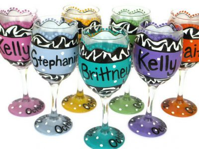 Custom Personalized Wine Glass, Brightly Colored Hand Painted Wine Glasses