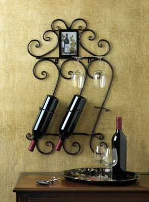DECORATIVE WROUGHT IRON WINE WALL RACK GLASS HOLDER WITH PHOTO FRAME