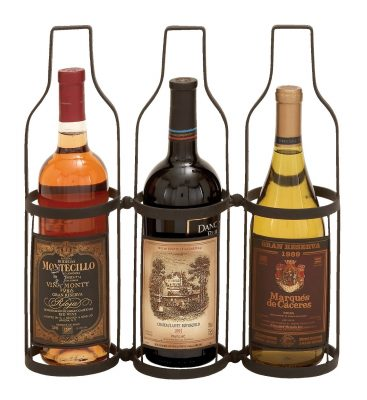 Deco 79 Wine Label 3 Bottle Wine Rack Holder