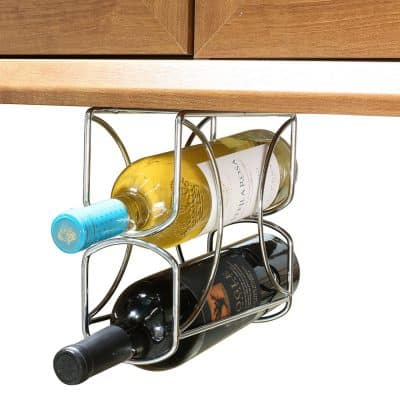 DecoBros Under Cabinet Double Wine Rack Holder