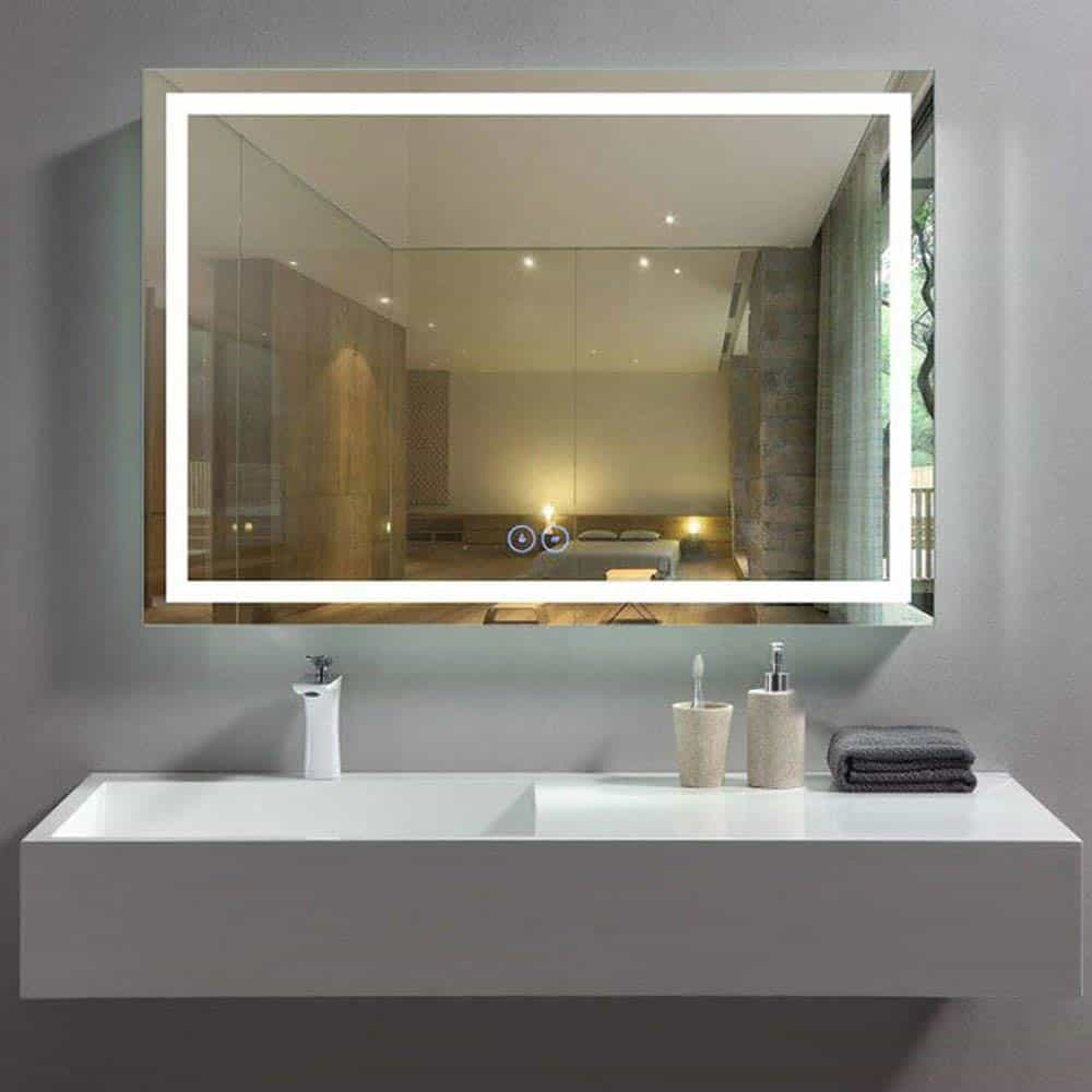 Decoraport 40 x 28 in Horizontal LED Bathroom Mirror with Anti-Fog Function (DK-A-CK010-W4)