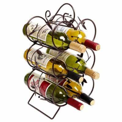 Decorative Wine Rack 6 Bottle Display Stand Storage Organizer