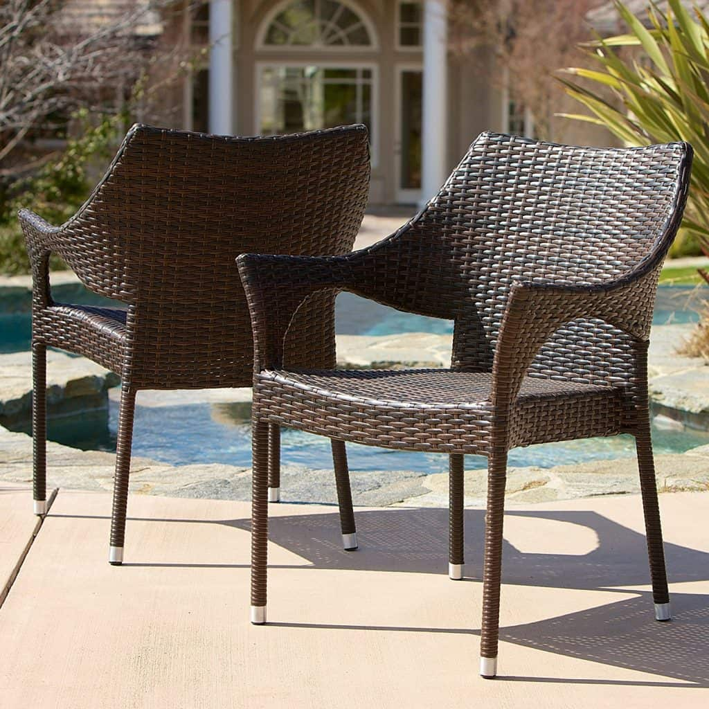 Del Mar Outdoor Brown Wicker Stacking Chairs