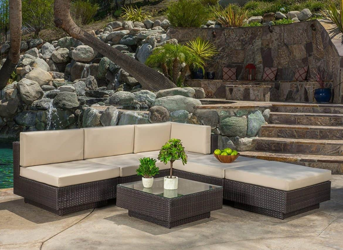 Denise Austin Home Carolyn Outdoor 6 Piece Brown Wicker Sofa Set With  Cushions