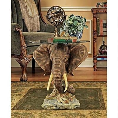 Design Toscano Lord Earl Houghton's Trophy Elephant Glass-Topped Table