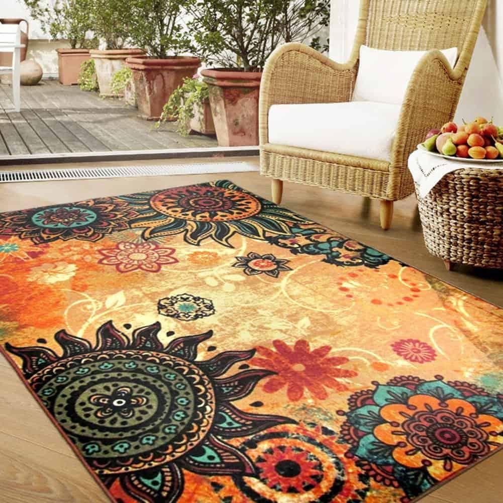 Designer Boho Retro Style Living Room Floor Carpets