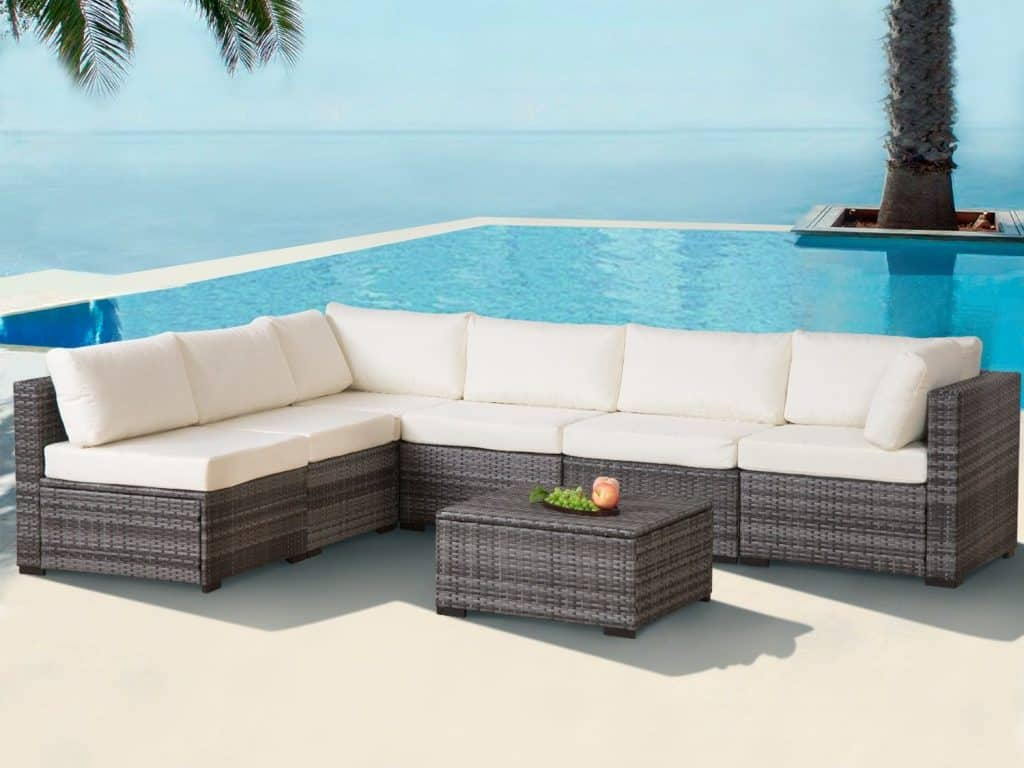 Diensday 7 Piece Cushioned Outdoor Patio PE Rattan Wicker Sofa