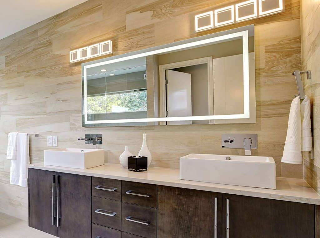 Dyconn Faucet Edison HorizontalVeritcal LED Wall Mounted Backlit Vanity Bathroom LED Mirror with Touch OnOff Dimmer & Anti-Fog Function (60 W X35 H)