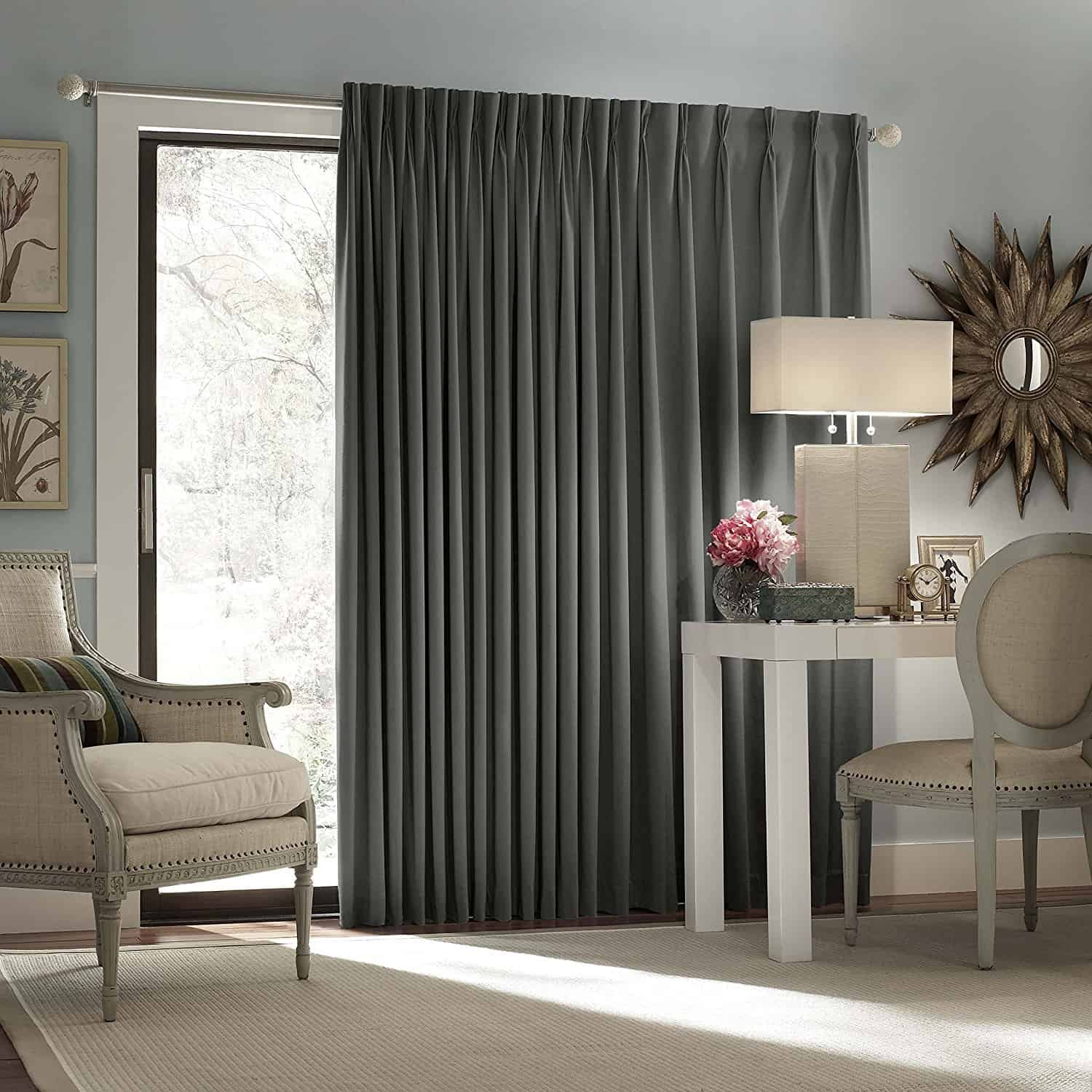 Window treatments for sliding glass doors ideas tips eclipse thermal blackout patio door curtain panel charcoal planetlyrics Images