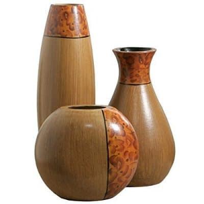 Elegant Expressions by Hosley Burlwood Vases, Set of 3