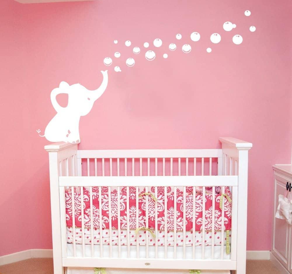 Elephant Blowing Bubbles Wall Decal Vinyl Wall Sticker Baby Nursery Decor Kids Room Wall Stickers
