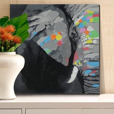Elephant Oil Painting cubism 100% Hand-painted on Canvas Artwork(Stretched Ready to Hang)30x30inch Modern Animal Wall Art for or Living Room Bedroom