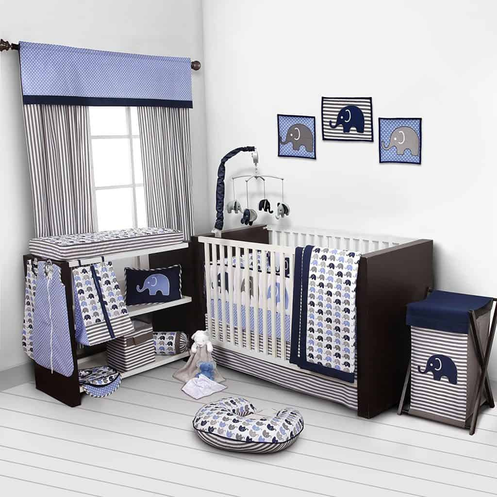 Elephants BlueGrey 10 pc crib set including Bumper Pad