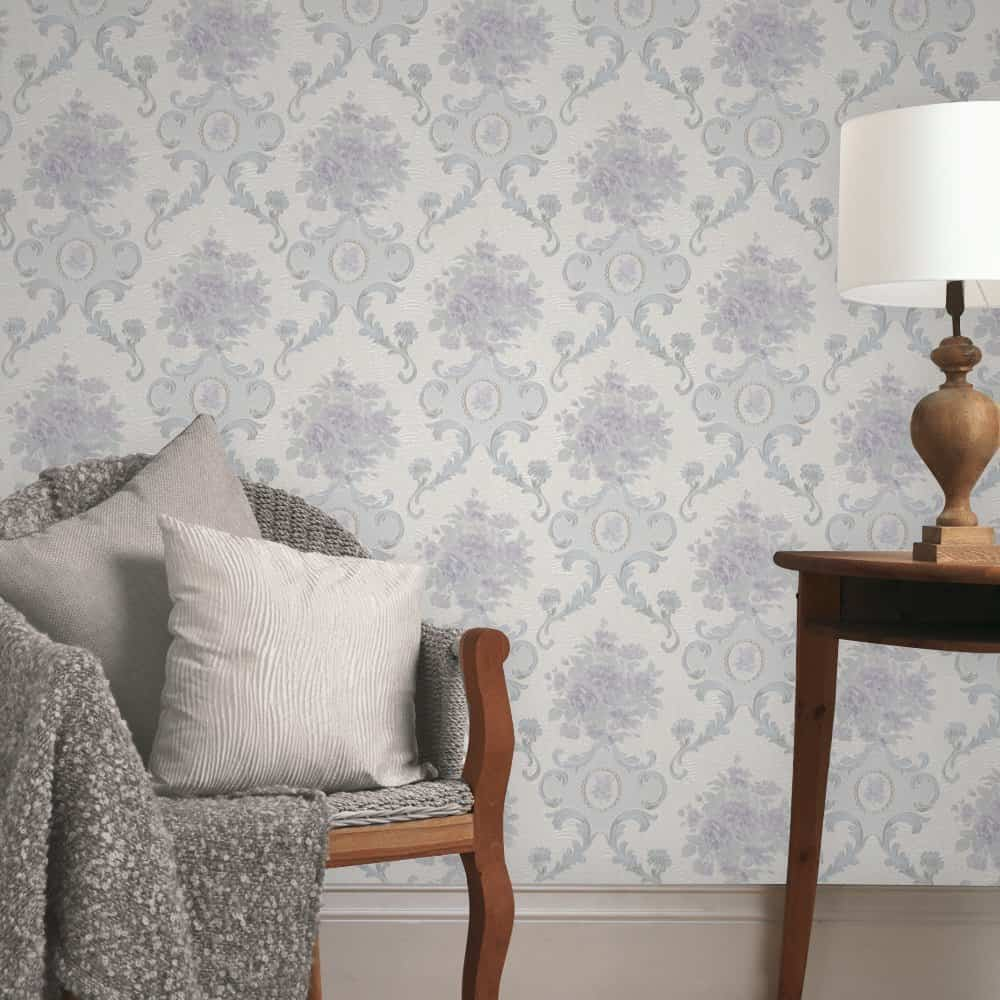 Embossed Textured Damask Wallpaper