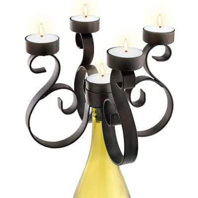 Epic Products Rustic Wine Bottle Candelabra, Multicolor