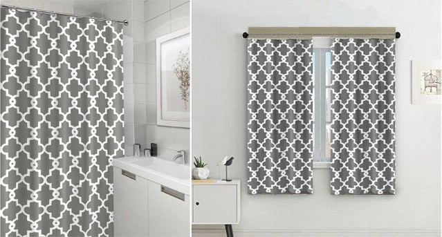 Eve Split Geometric Patterned Water Repellent Fabric Shower Curtain,Window  Panel Drapes