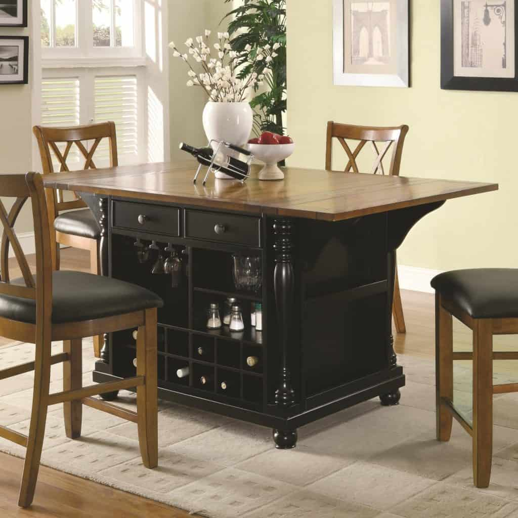 Extendable Kitchen Island With Drop Leaves Drawers Doors Built In Wine  Bottle Storage Stemware Rack