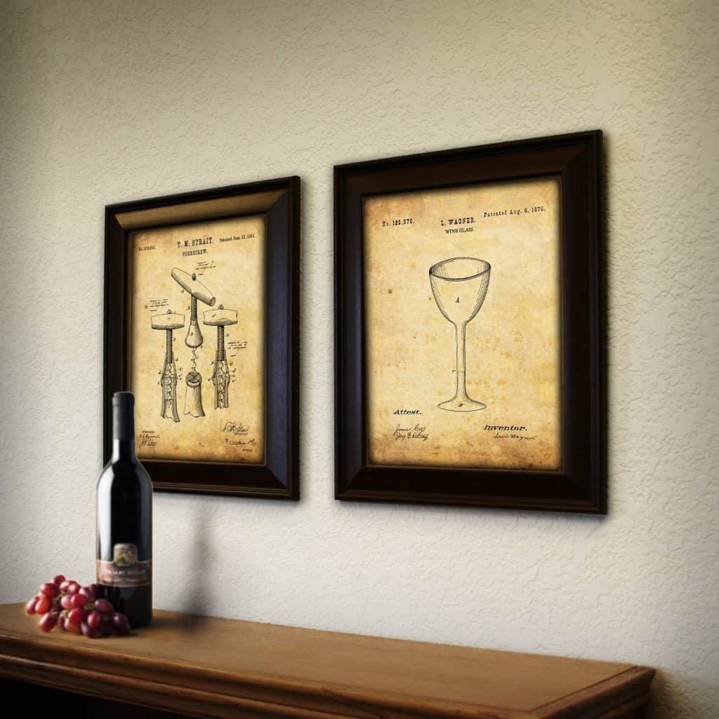 Superbe Wine Wall Art. Framed Modern Patent Set   Wine