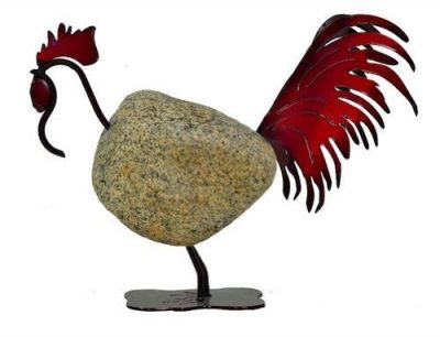 Francis Metal Work Stone Iron Sculpture Red Rooster by Francis Metal Works
